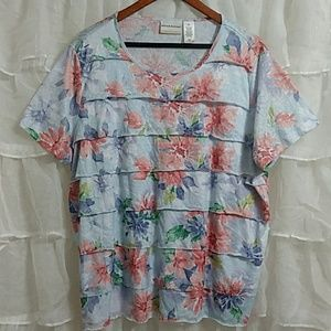 New ALFRED DUNNER Short Sleeve Floral Ruffle Top